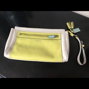 Coach Colorblock Leather White/Ylw Clutch-Wristlet